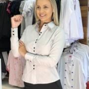 Camisete Social Feminino Listrado Cinza - Produto à Pronta -Entrega